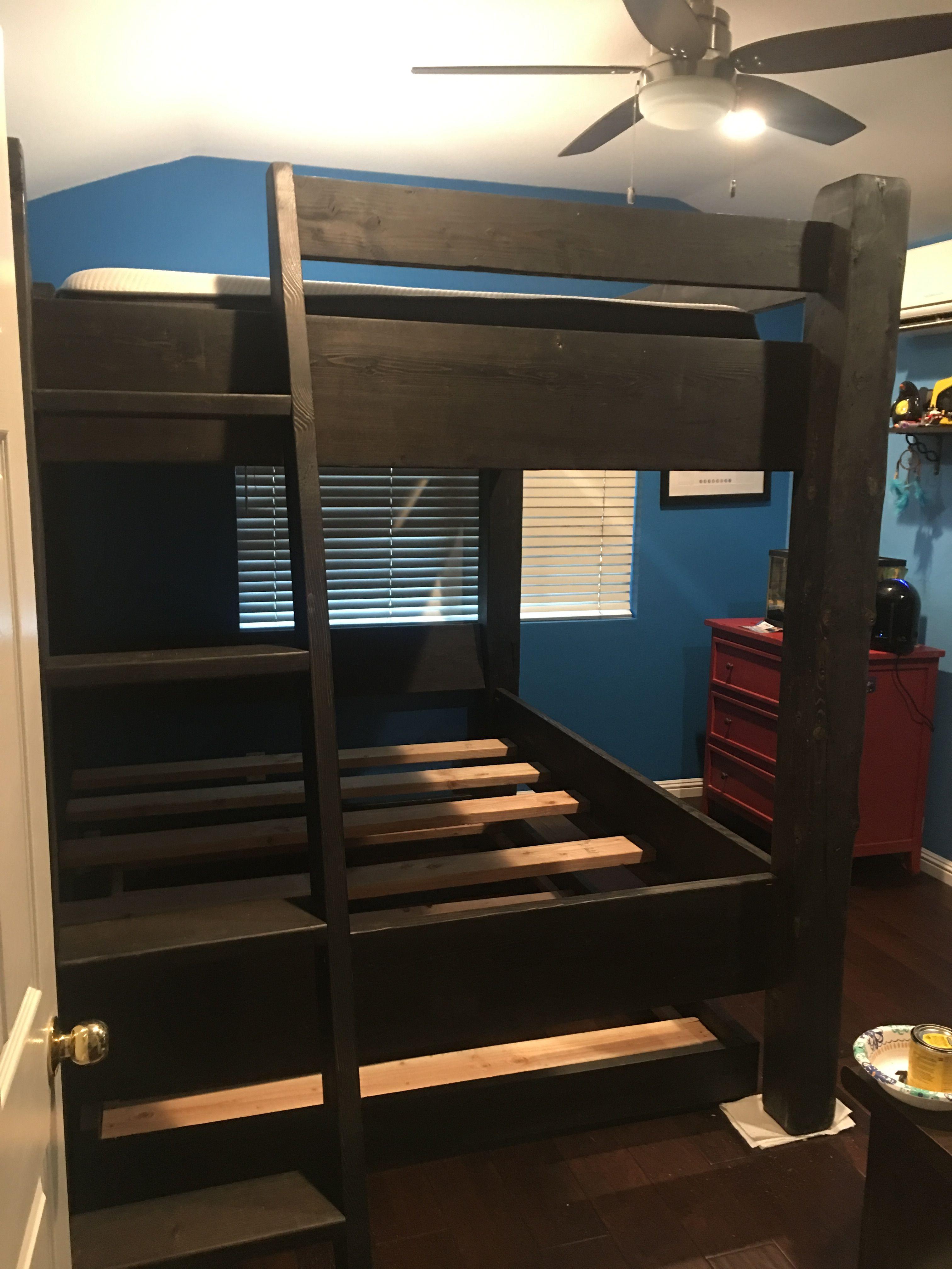 Rustic queen bunk in Orange County. Adult bunk beds