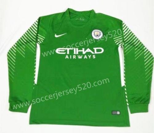 87635732760 2017-18 Manchester City Goalkeeper Green Thailand LS Soccer Jersey AAA