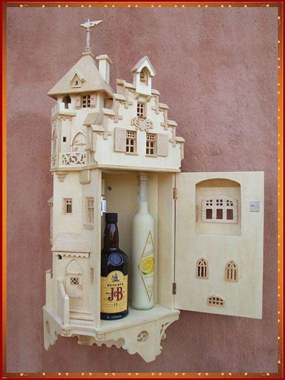Neoclassical castle furniture cabinet (for liquor) $323 by Ingo Paravano (ingoparavano @ etsy)