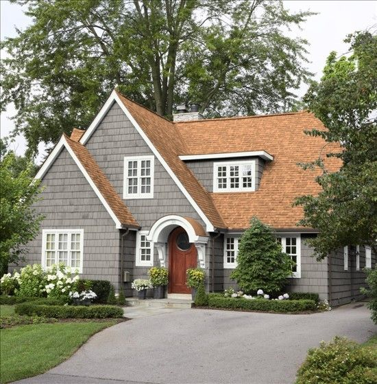 Gray exterior w rust brown roof not wild about it but that is the color of our roof for the - Exterior house colors brown ...