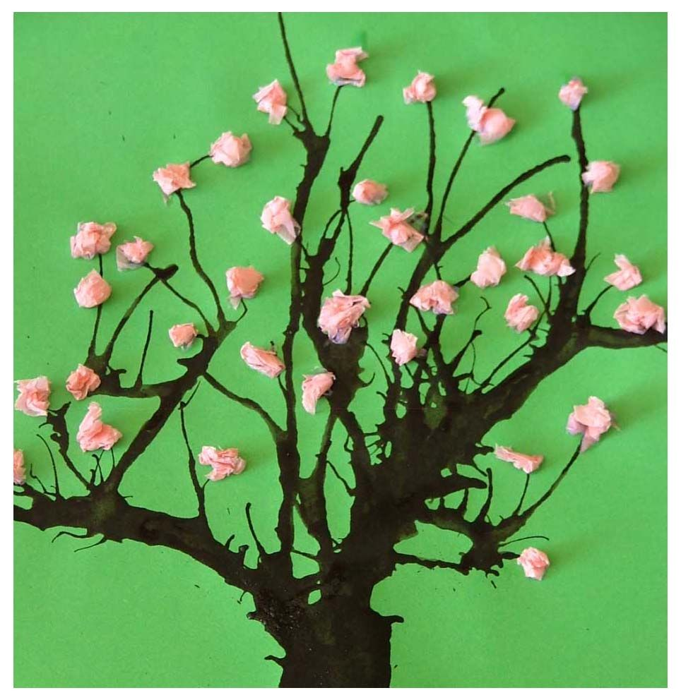 Blossoming Tissue Tree Spring Crafts For KidsEasy