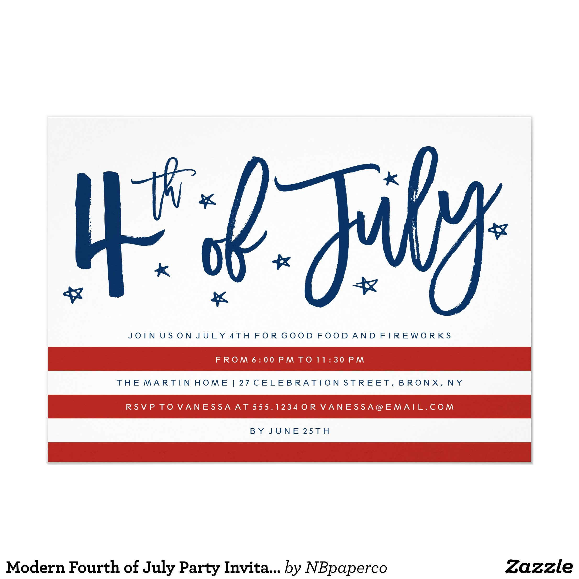 Modern Fourth of July Party Invitation   Pinterest