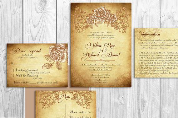 Printable Lace Elegant WEDDING INVITATIONS - Chicago Victorian Rose - fresh invitation wording reception