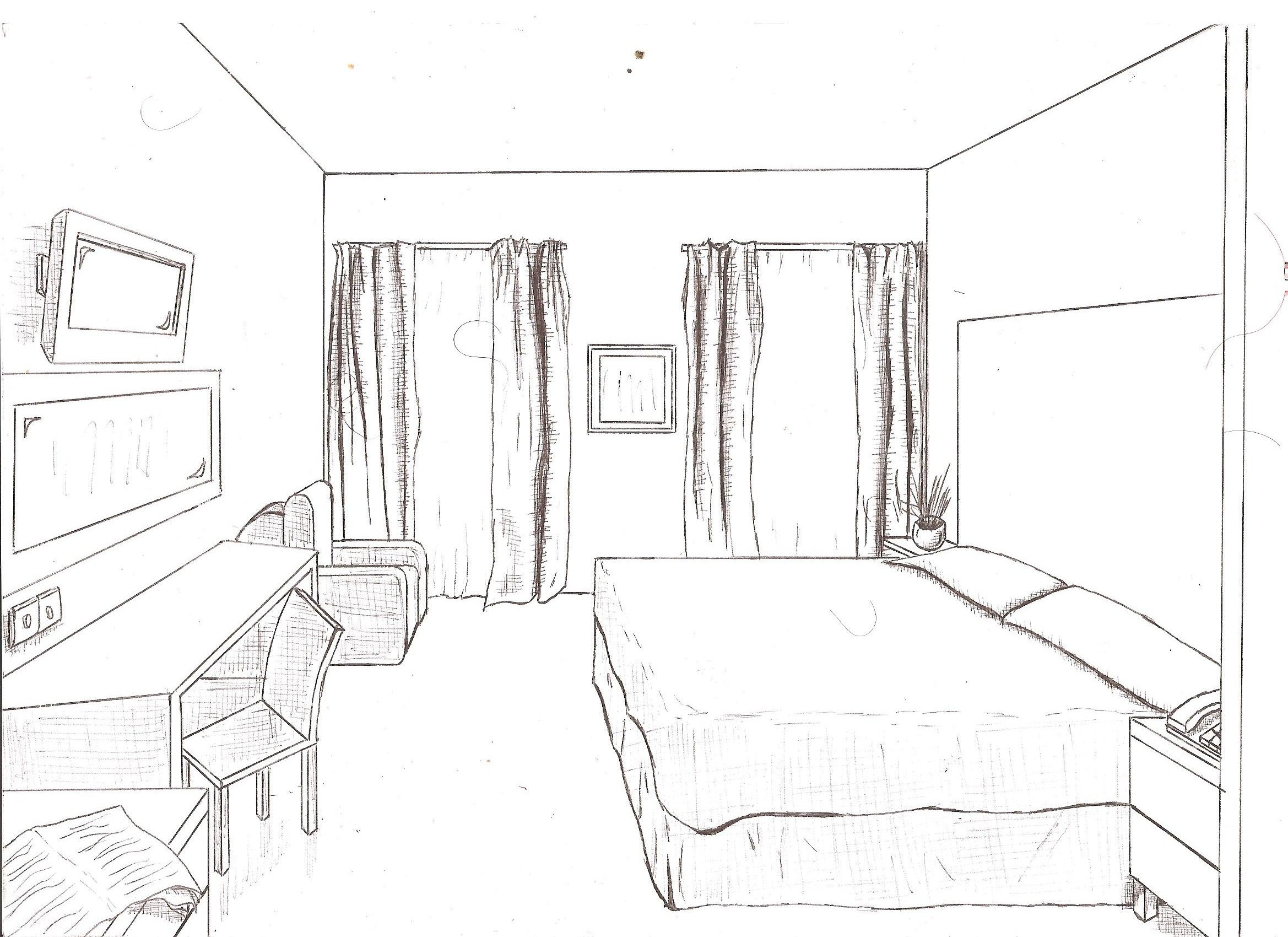 One point perspective living room drawing - Room 1 Point