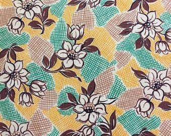 Vintage feedsack flour sack fabric green yellow brown floral   quilt fat quarter patchwork feed sacks pinterest also