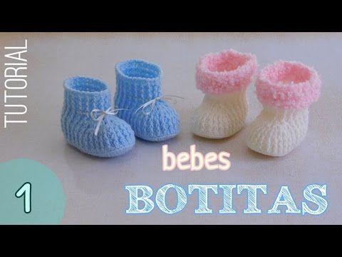 c7d6e3e9118 DIY como tejer escarpines, botitas, patucos para bebe a crochet, ganchillo  AJUAR - YouTube