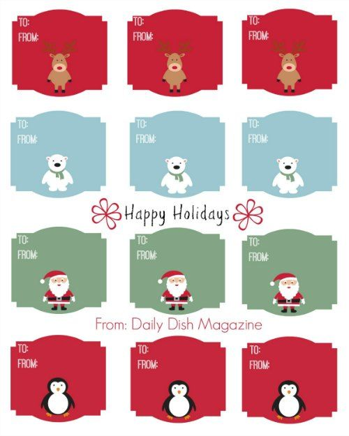 Cute Christmas Animal Gift Tag Printable Gift tags printable - christmas gift card templates free