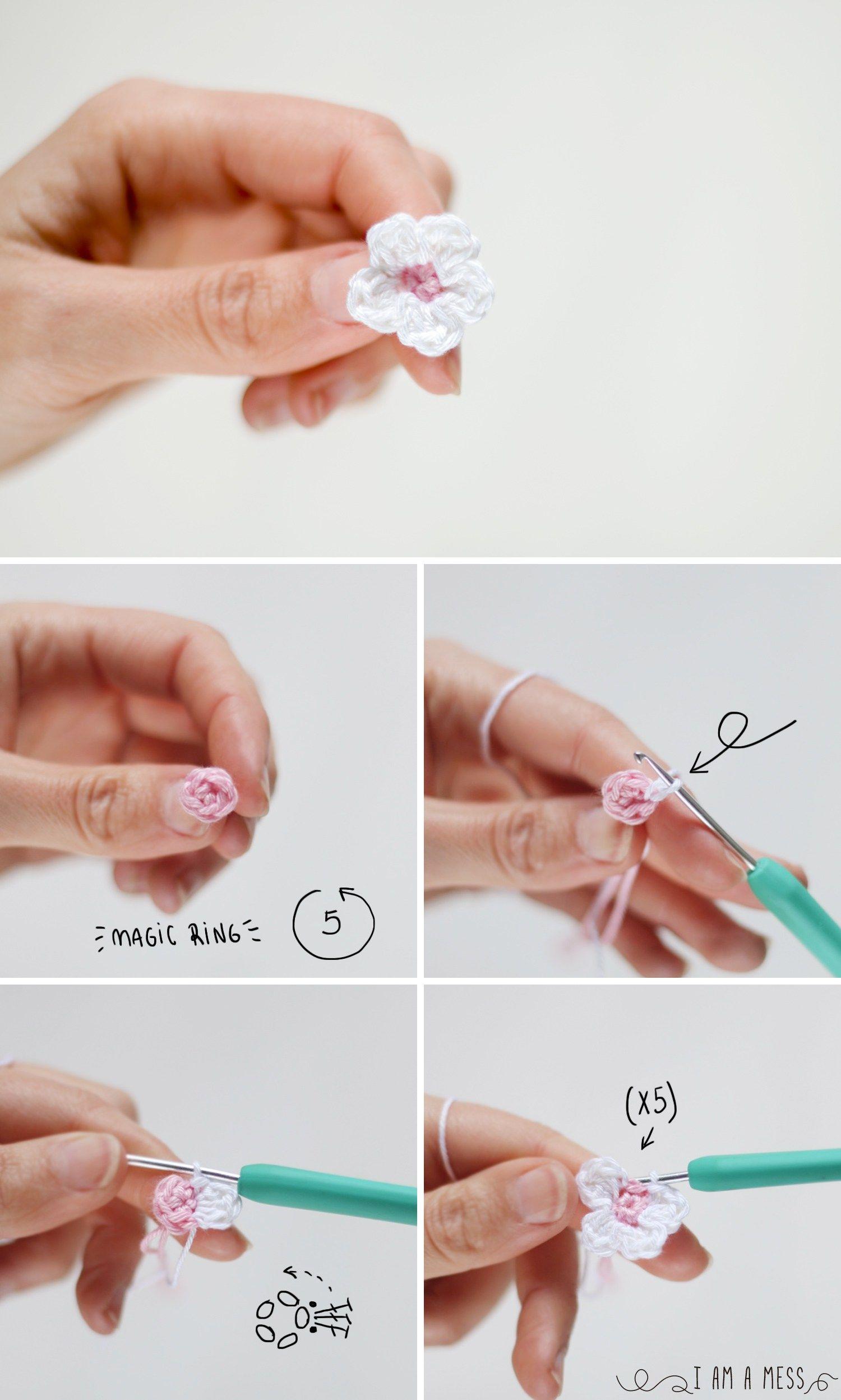 Pasos para hacer una flor de almendro de ganchillo | Adornos ...