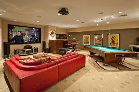 interior home design ideen spielraum einrichten billardtisch sofa - wohnzimmer gestalten rot