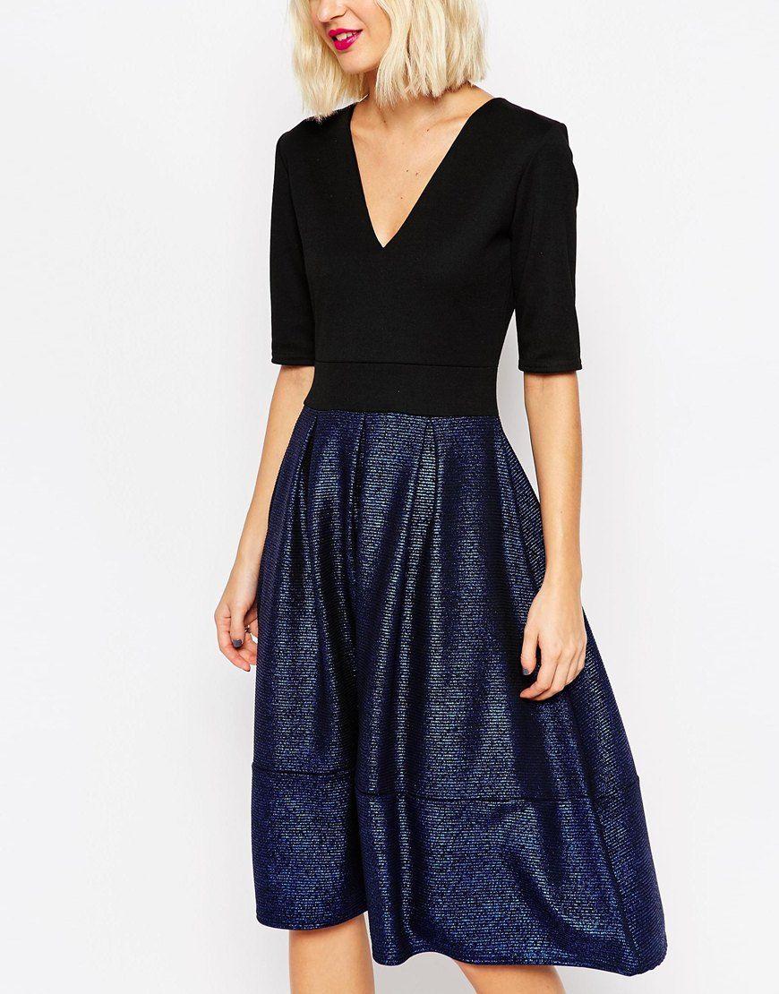 Image 3 ofASOS Structured Midi Dress with Metallic Skirt