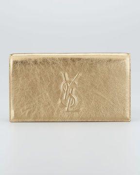 ShopStyle: Saint Laurent Metallic Belle du Jour Clutch Bag, Pale Gold