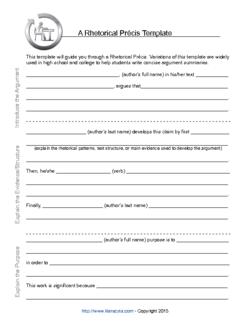 Rhetorical précis template: 20+ templates available for free.