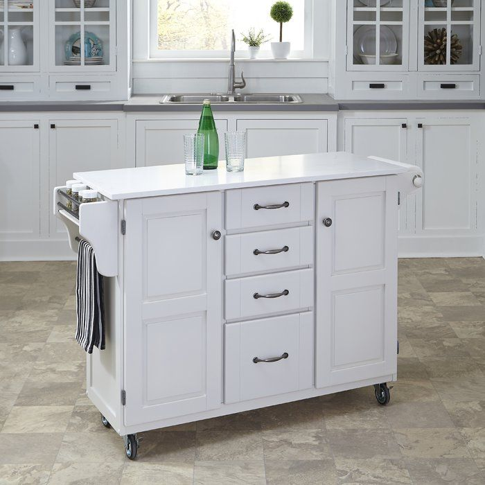 Kuhnhenn Kitchen Cart With Wood Top In 2019 White