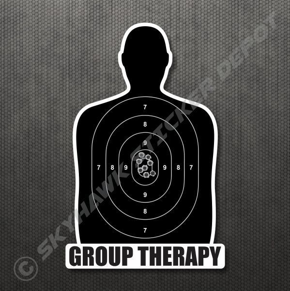 Group therapy gun target sticker vinyl decal car truck bumper sticker molon labe 3m