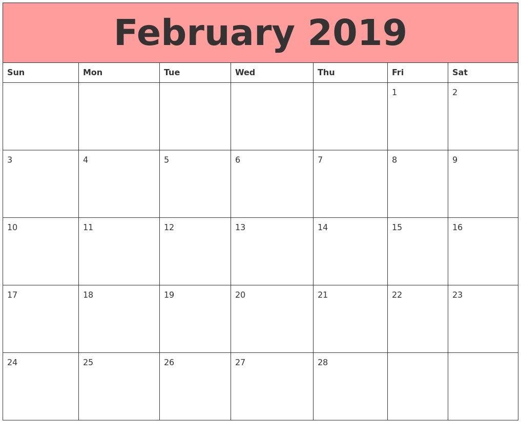 February 2019 Calendar A4 Printable February 2019 Calendar A4