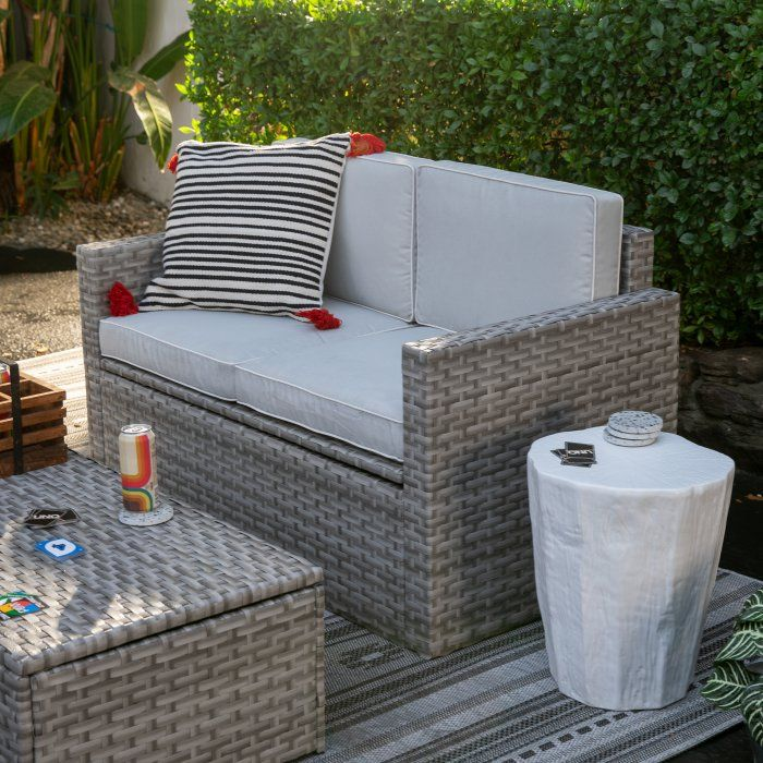 Superb Coral Coast Berea Outdoor Wicker Storage Loveseat With Frankydiablos Diy Chair Ideas Frankydiabloscom