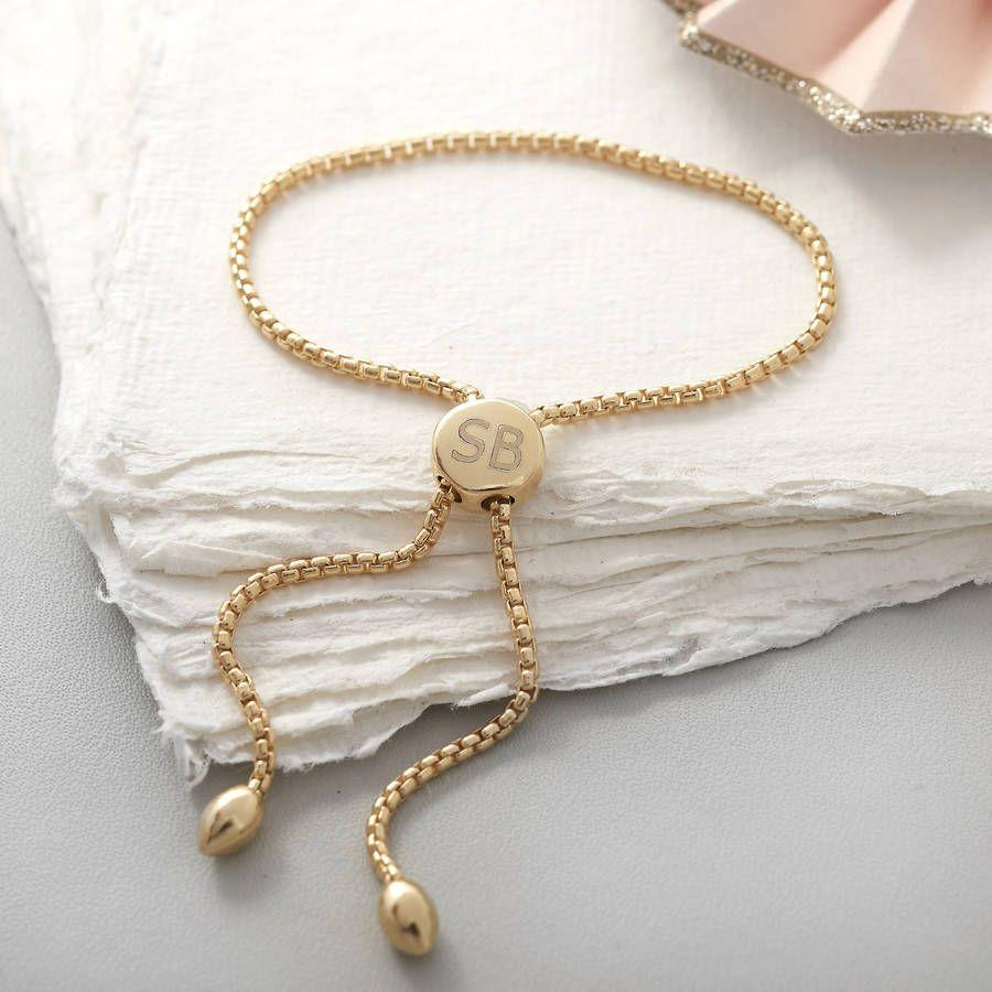 Personalised Slider Yellow Gold Friendship Bracelet