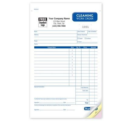 Carpet Cleaning Work Order Forms Item No Rhs Size   X