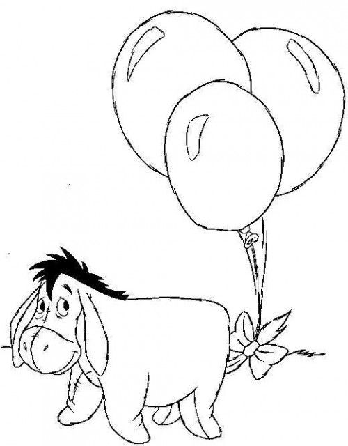 Disney Cartoons Eeyore With Balloons Coloring Page With Images