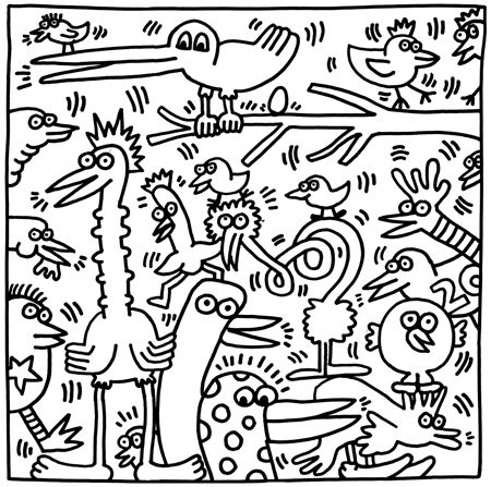 Image from the Keith Haring Coloring Book Aves en la
