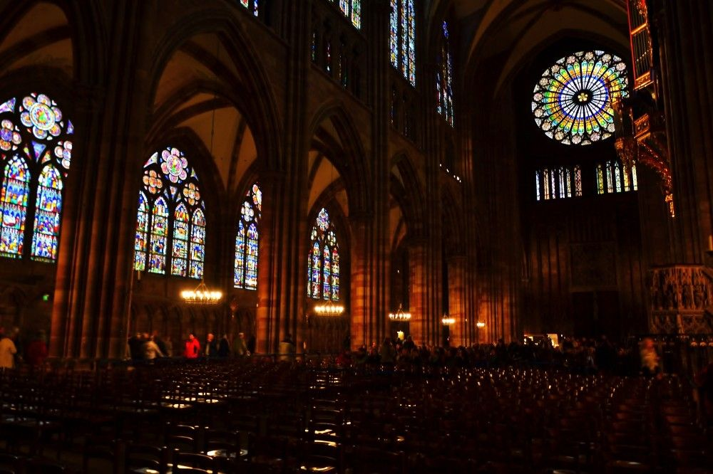 Inside The Gothic Cathedral Of Strasbourg France