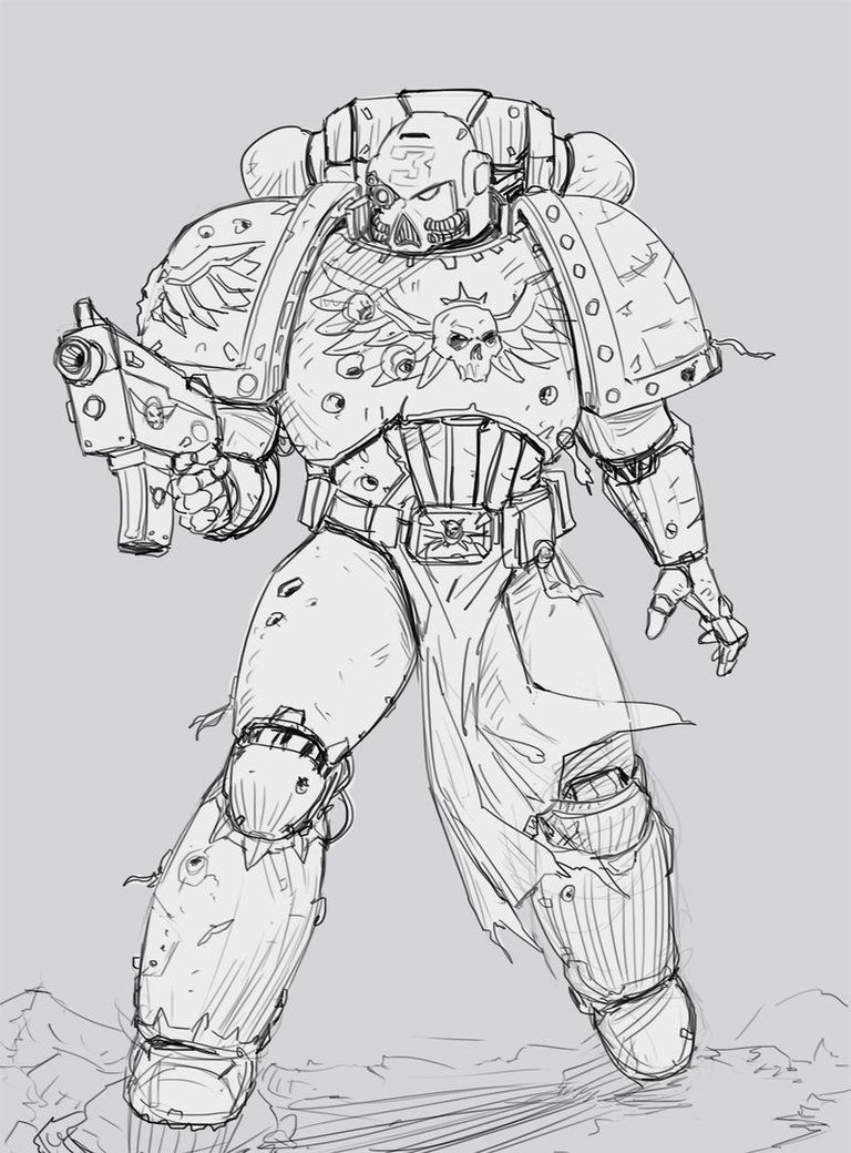 Space Marine Sketch By Salvadortrakal Space Marine Sketches