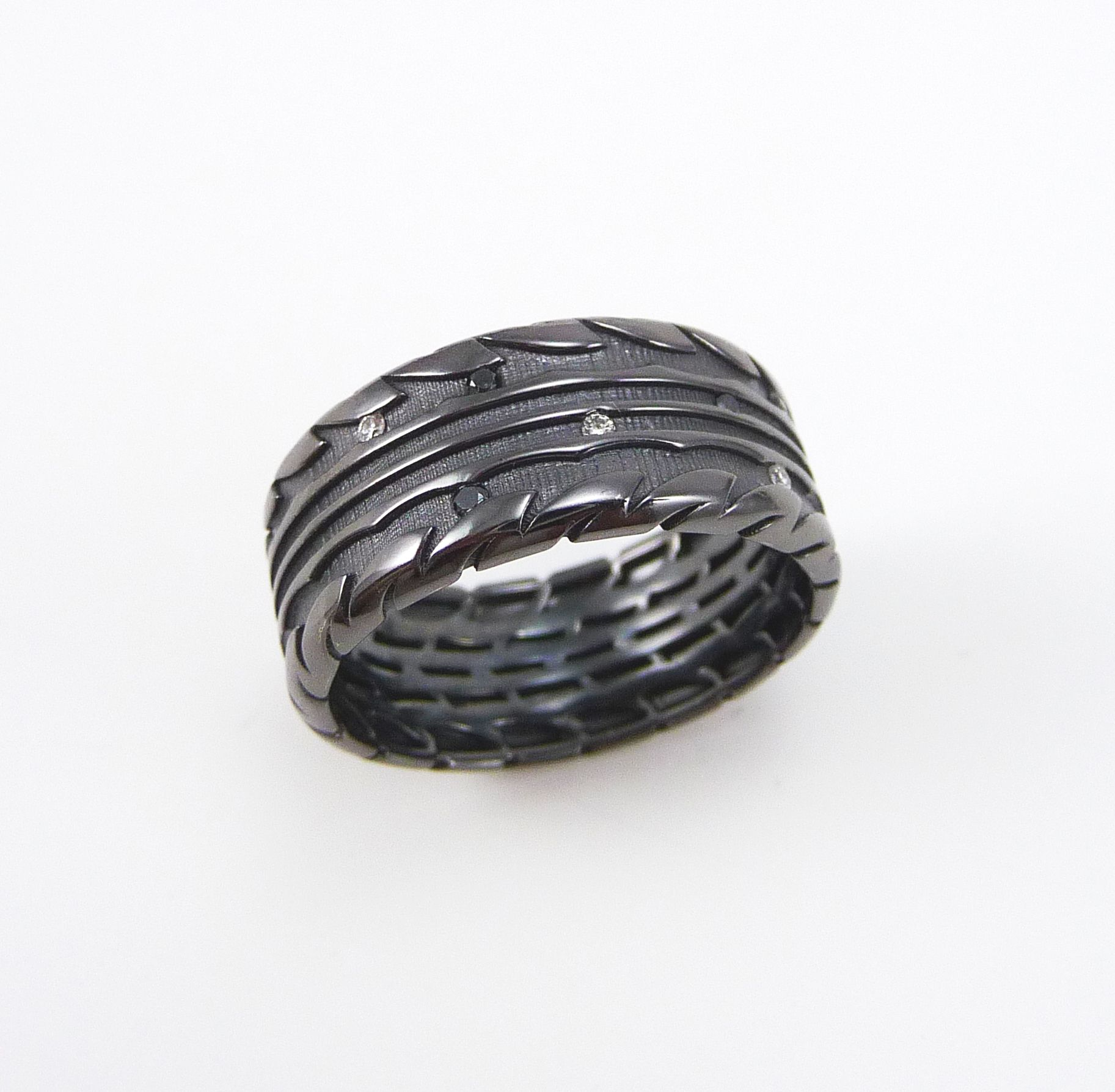 Tire Ring White Gold Mens Wedding With Colorless And Black Diamonds