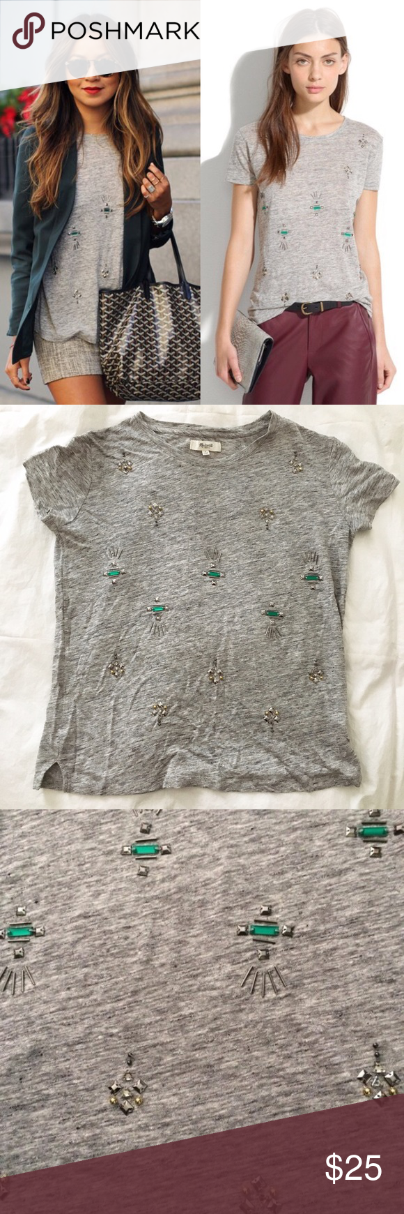 Madewell Jeweled Tee Wanna feel like a blogger? This jeweled tee is the same tee on Sincerely Jules. I got this tee as a gift but never worn or washed. The tee still feels very soft and the embellishments are in perfect condition. Madewell Tops Tees - Short Sleeve