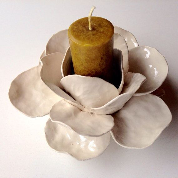 Smaller Ceramic Flower Candle Holder Candelabros De Arcilla Candelabros De Ceramica Florero De Ceramica