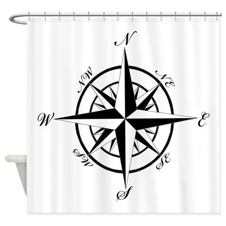Vintage Compass Shower Curtain By Shaney442 Nautical Shower