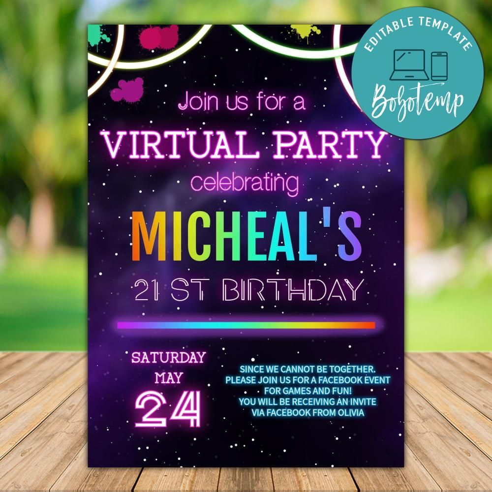 Printable Glow Virtual Party Invitation Template Instant Download