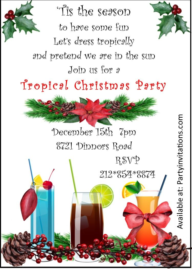 Tropical Christmas Party Ideas.Tropical Cocktail Christmas Party Invitations Christmas Party