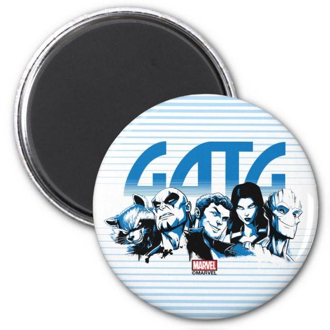 Guardians of the Galaxy  Cartoon Crew Retro Logo Magnet