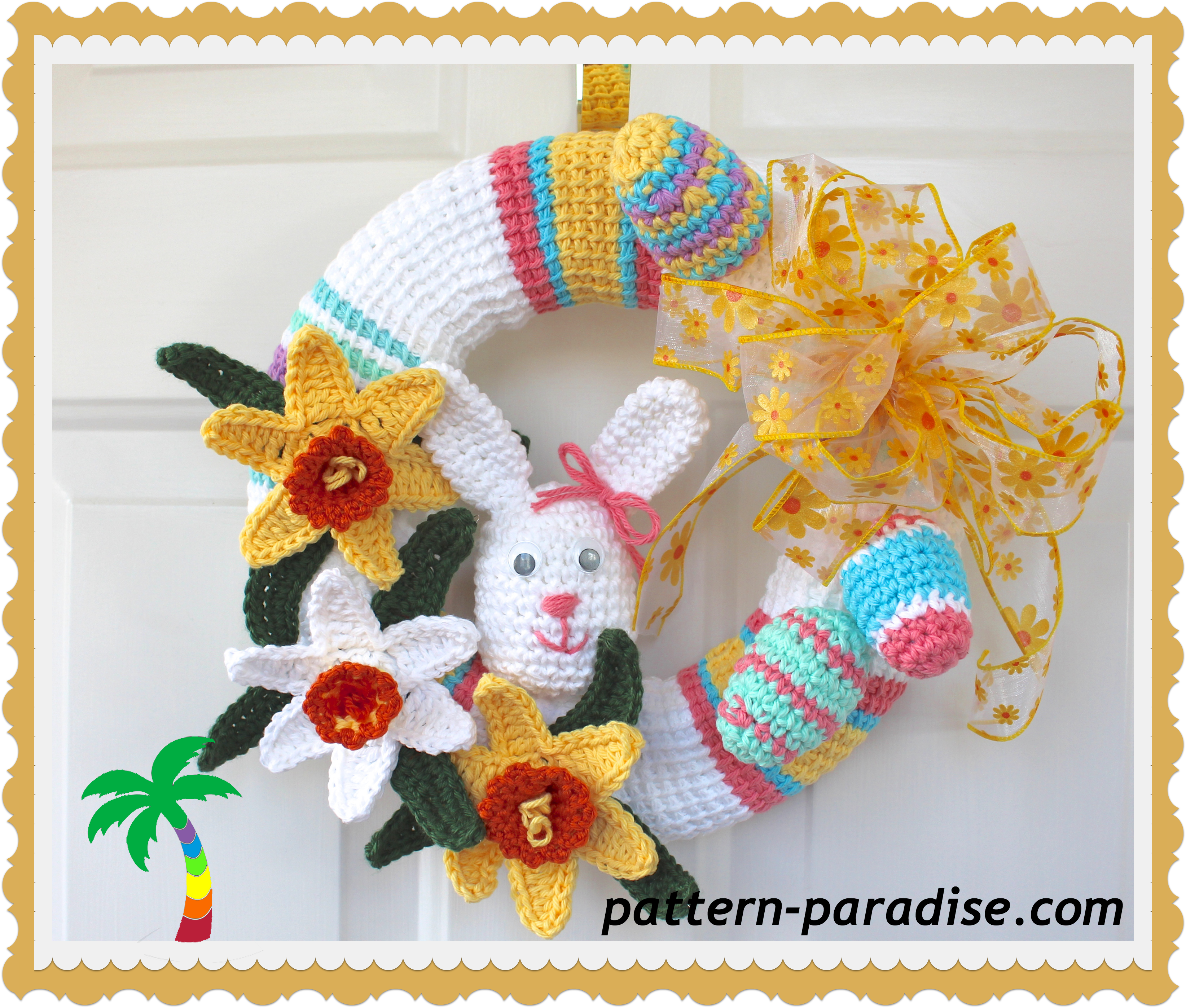 FREE CROCHET PATTERN - Spring Wreath | Kränze, Ostern und Stricken