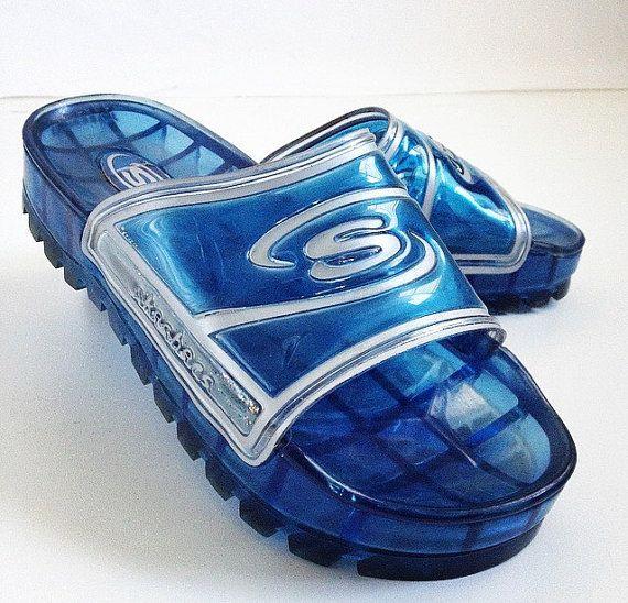 90's Skechers Blue Clear Glitter Slide