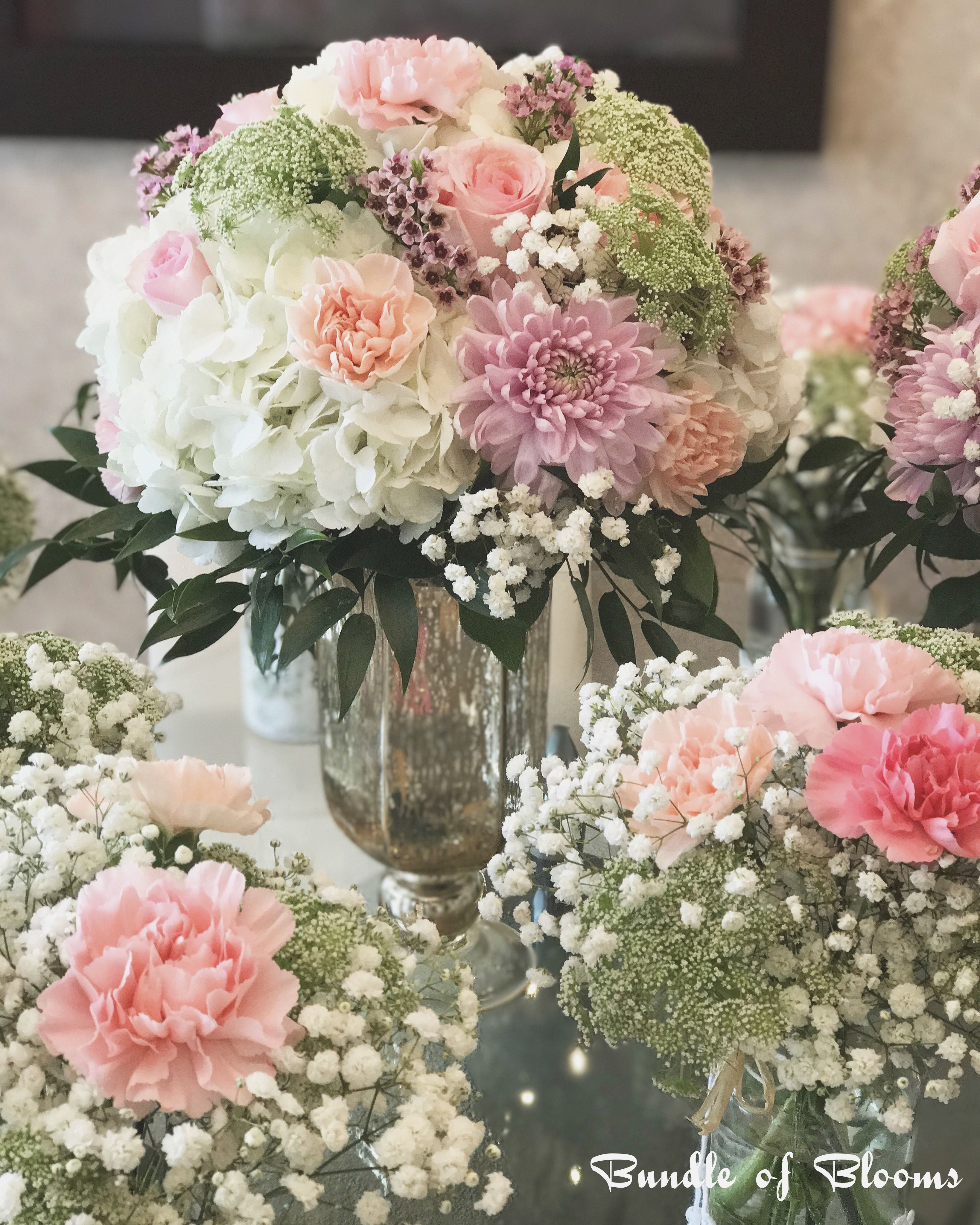 Baby shower arrangements various pink carnations roses for Decoration fiancaille