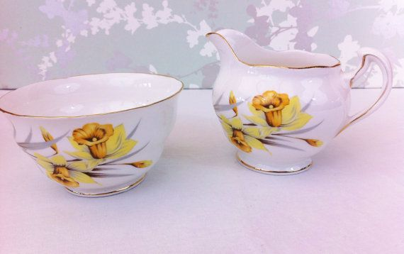Daffodil   Creamer and Sugar Bowl Crown by LavenderRoseCottage,