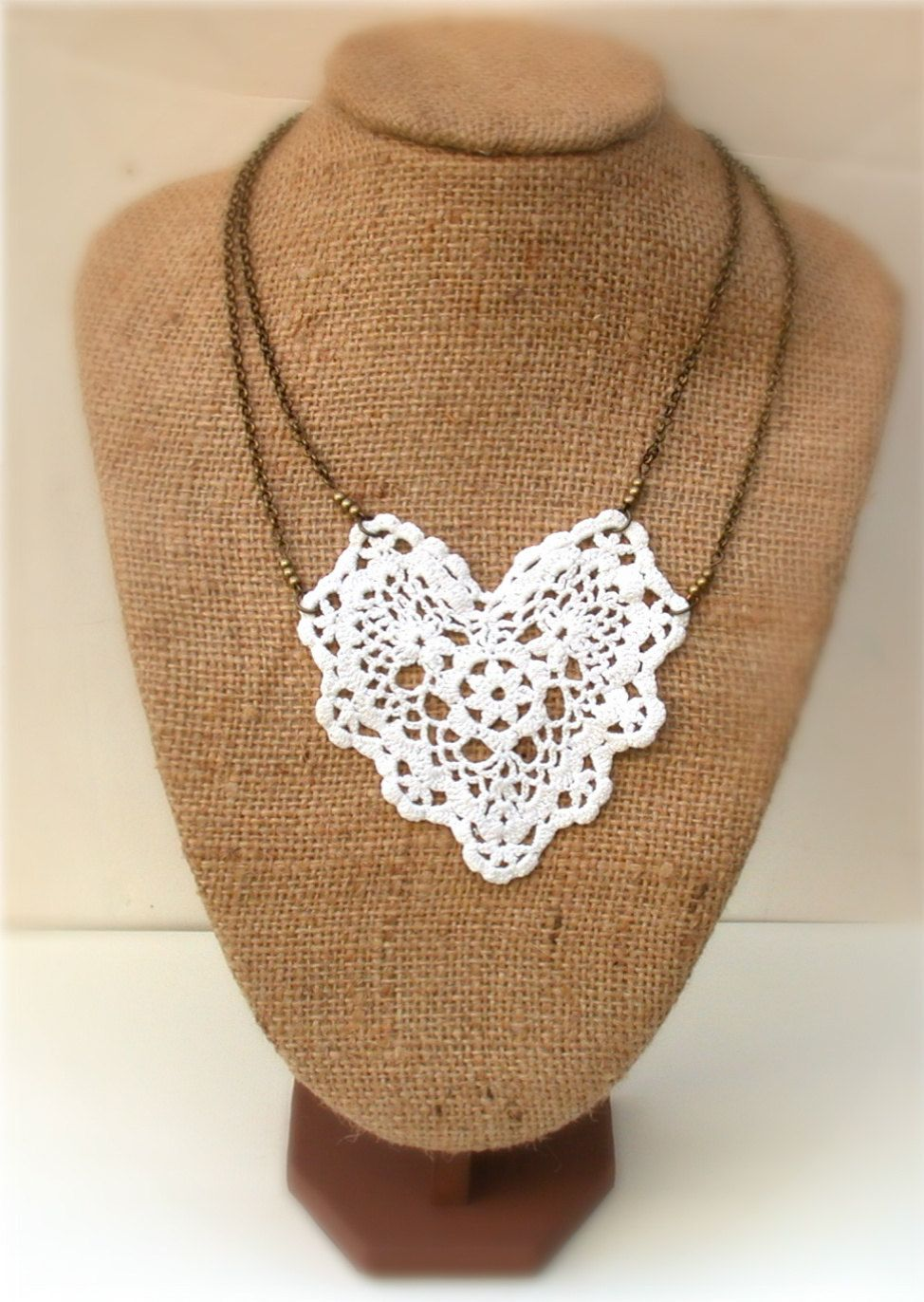 Antique  White Lace  Necklace Perfect for Bride, Wedding, Bridesmaids And Formal. $34.00, via Etsy.