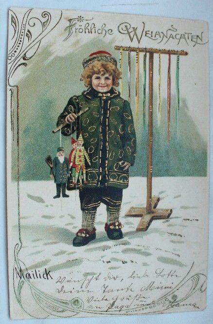 alte postkarte fr hliche weihnachten kind mit spielzeug mailick 1903 k peslapok postcards. Black Bedroom Furniture Sets. Home Design Ideas
