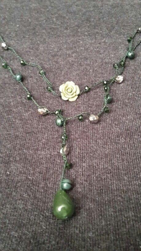 Collana A Uncinetto Con Perline Di Cristallo E Pietre Dure