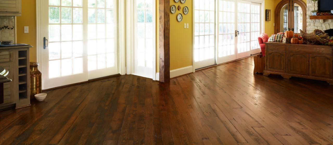Reclaimed Antique Oak Rustic Solid Wood Flooring With A Walnut Stain