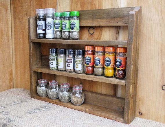 Large Rustic Spice Shelf Kitchen Spice Rack Herb