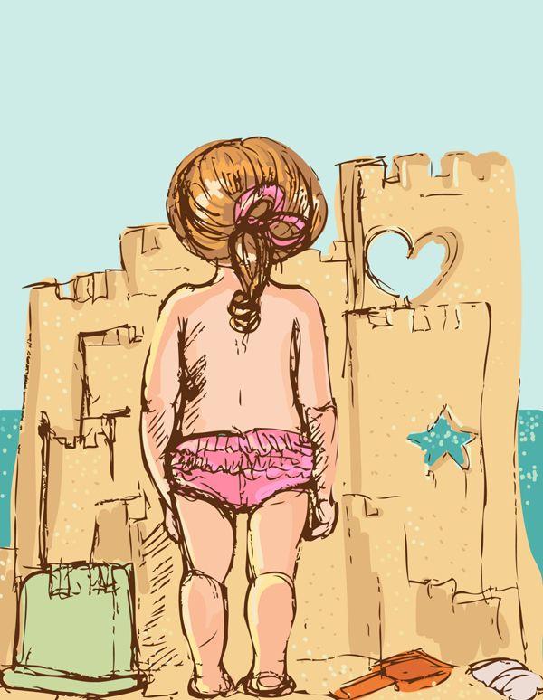 summer,cute,girl,beach,pink,star,sea,happy,