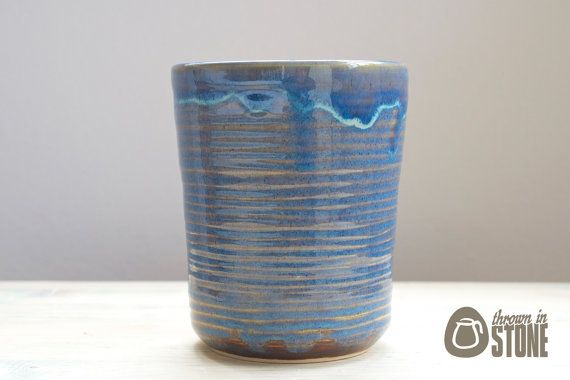 Stoneware Vase - Lustrous Blue Flower Vase - Pencil Pot - Handmade Ceramic Home Decor