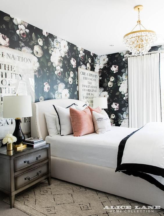Best Flanked By Black And White Typography Art Mounted On A Wall Covered In Ellie Cashman Dark Floral 400 x 300