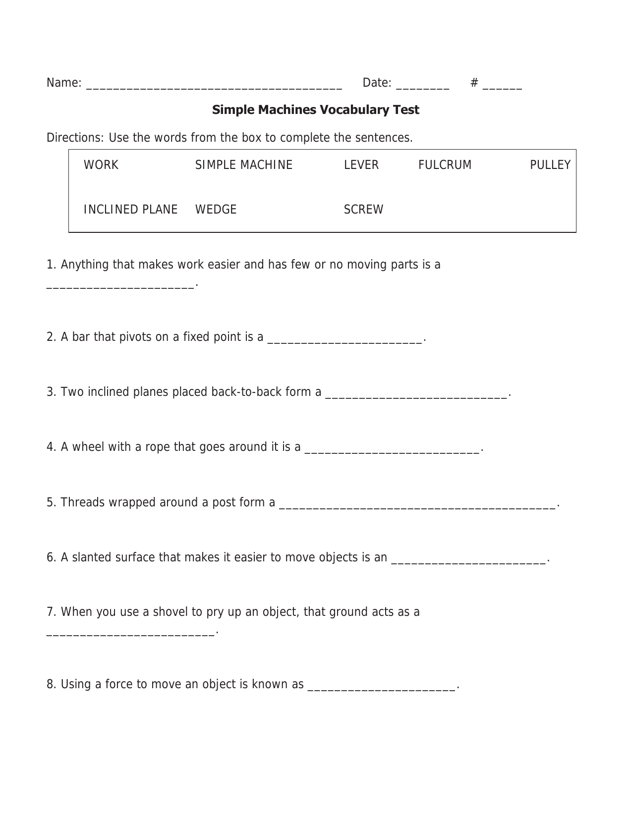 worksheet Worksheet On Simple Machines For Grade 5 simple machines unit test 3 resource preview science force and preview
