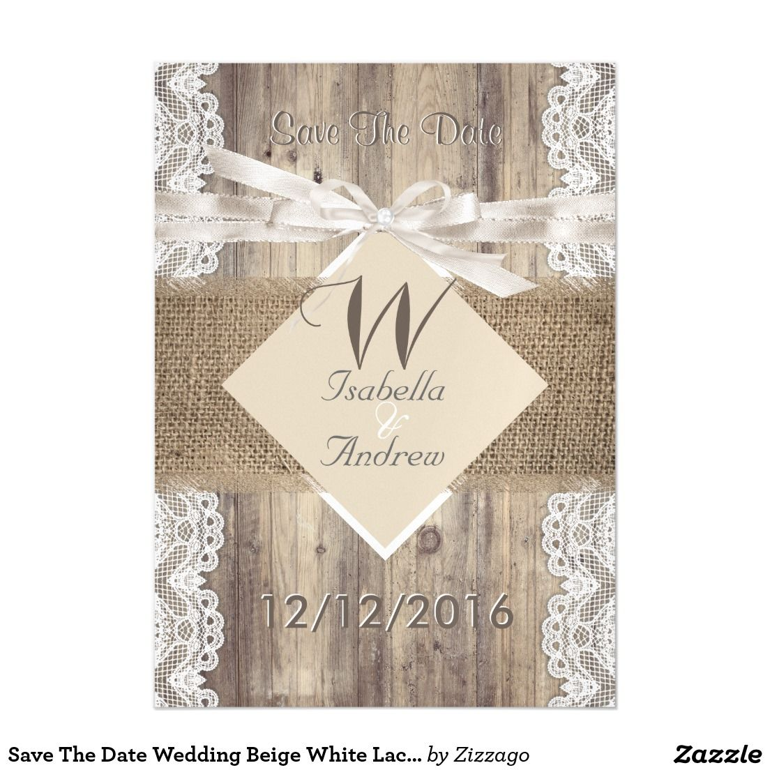 Save The Date Wedding Beige White Lace Wood Burlap Magnetic Card ...