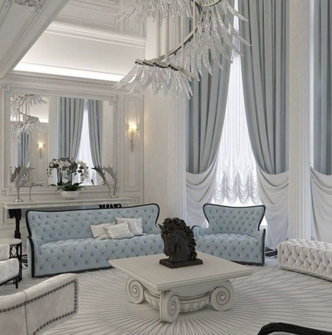 Discovered By Hayla Find Images And Videos About Blue Luxury And Home On We Heart It T In 2020 Luxury Living Room Elegant Living Room Design Elegant Living Room