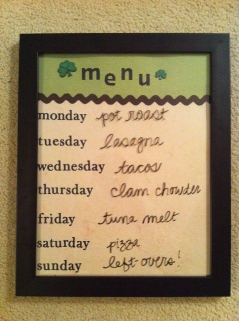 MEAL PLANNER!...Picture frame, scrapbook paper, dry erase markers.. organization!