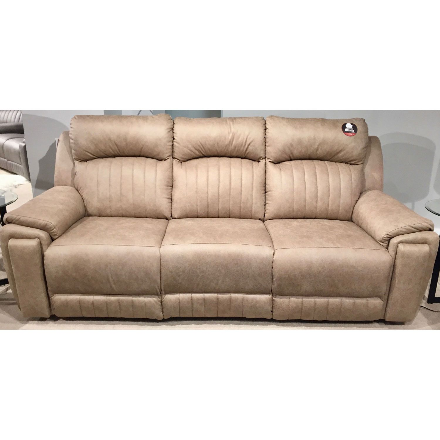 Southern Motion Silver Screen Double Reclining Sofa Beige Fabric
